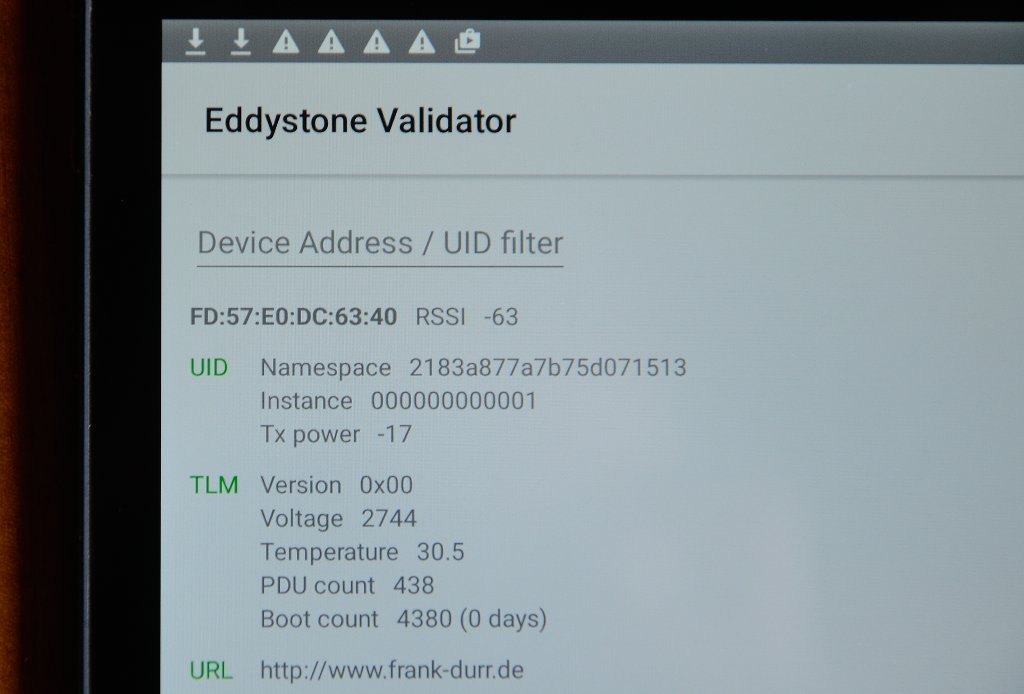 Eddystone data sent by Faros beacon